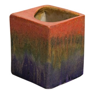 Fantoni for Raymor Tri-Color Glaze Ceramic Pillow Vase For Sale