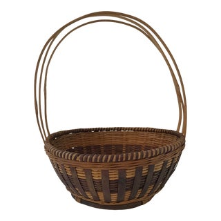 Vintage Two Tone Three Handled Basket For Sale