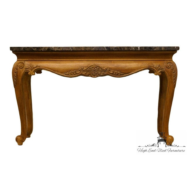 "Hekman Furniture Hekman Furniture Louis XVI Marble Top 51"" Sofa Table For Sale - Image 4 of 8"