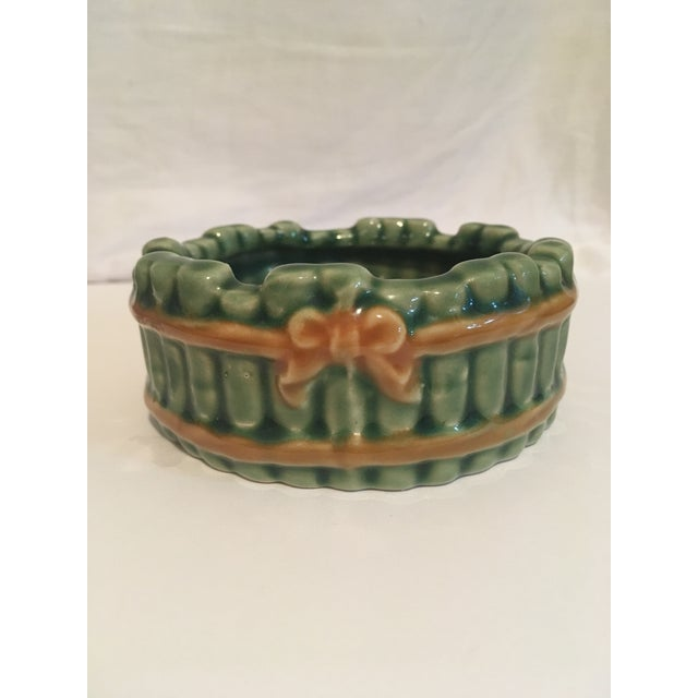 Ceramic Vintage Faux Bamboo Green Ceramic Ashtray For Sale - Image 7 of 7