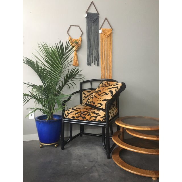 Organic Modern Black Bamboo + Animal Print Chair by Milling Road for Baker Furniture For Sale - Image 12 of 13