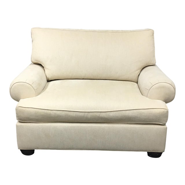 Ethan Allen Oversized Ivory Armchair Or Chair And A Half Chairish