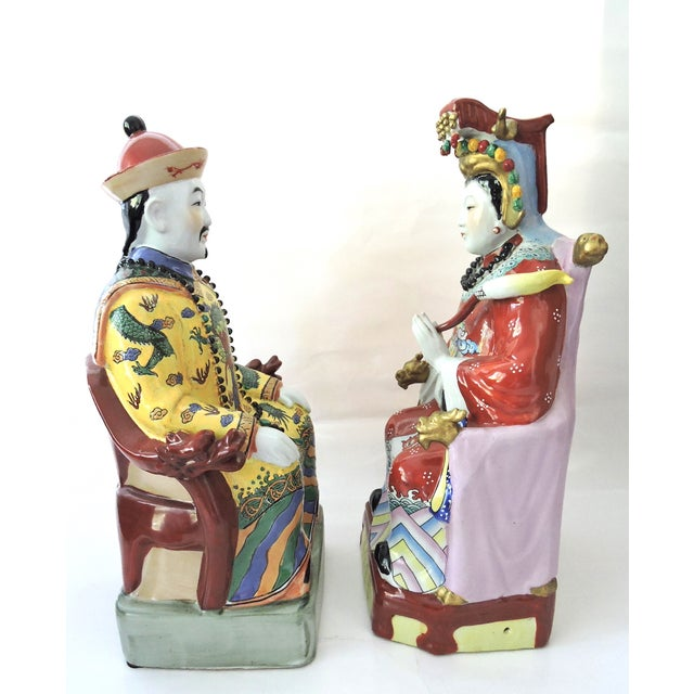 Vintage Chinese Emperor & Empress Seated Figures - Pair - Image 4 of 10