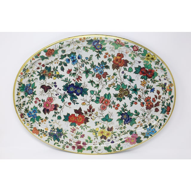 English Vintage Chintz Floral Metal Tray by Daher For Sale - Image 3 of 11