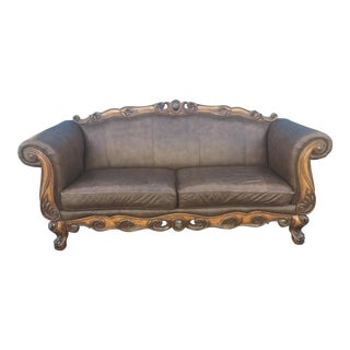 Modern Ornate French Provincial Revival Leather Couch For Sale