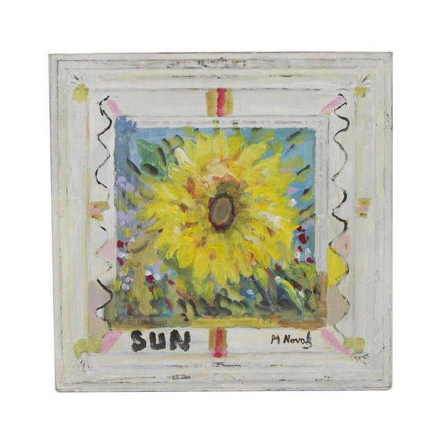 Metal Mladen Novak Sunflower Acrylic Painting on Antique Tin Panel For Sale - Image 7 of 7
