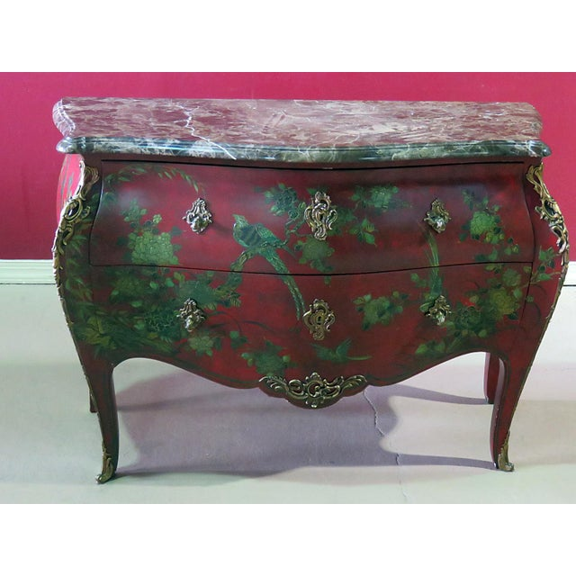 Marble Top Green Paint Decorated Bombe Red Commode For Sale - Image 11 of 11