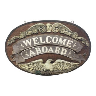 "Vintage Nautical ""Welcome Aboard"" Wooden Yacht Sign For Sale"