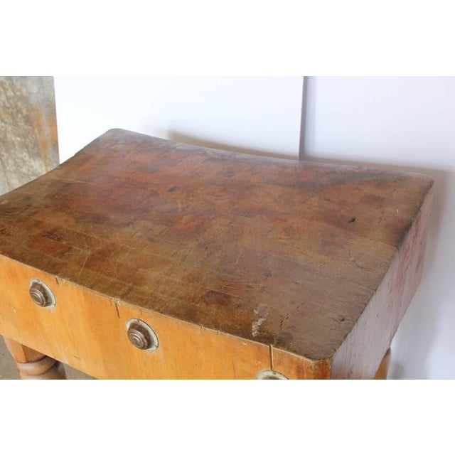 Unusual Antique American Butcher Block Table with Adjustable Height - Image 3 of 3