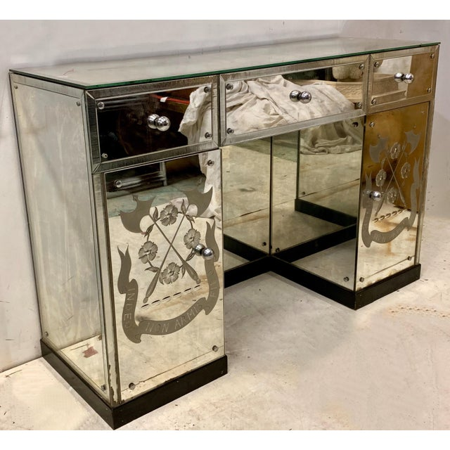Hollywood Regency Mirrored Desk or Console Table For Sale - Image 4 of 8