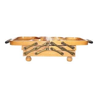 Mid Century Modern Karoff Ornate Handled Wood Expandable Serving Dish Tray