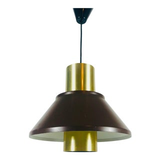 1970s Mid-Century Modern Brass and Metal Pendant Lamp by Fog & Morup, Denmark For Sale