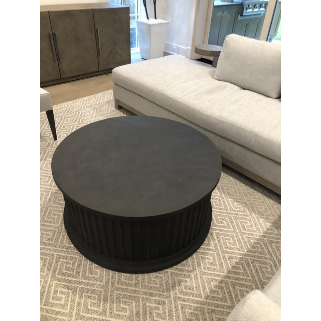 Concrete Noir Round Rustic Coffee Table For Sale - Image 7 of 7