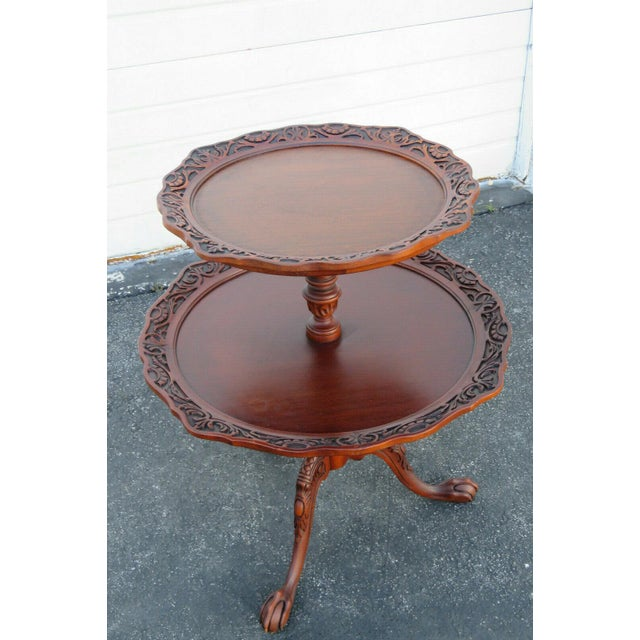 Wood Mahogany Two Tier Hand Carved Pie Crust Round Side Table For Sale - Image 7 of 11
