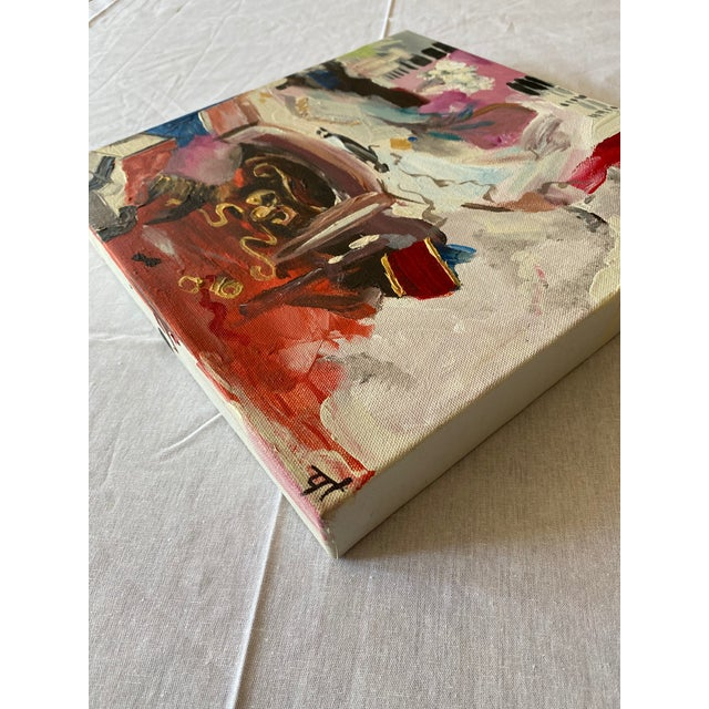 This is a 12 inch by 12 inch original abstract work of art (1.5 inch deep gallery wrap canvas). The medium is acrylic...