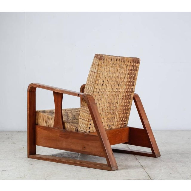 French Modernist Teak and Cane Lounge Chair, 1930s - Image 4 of 10
