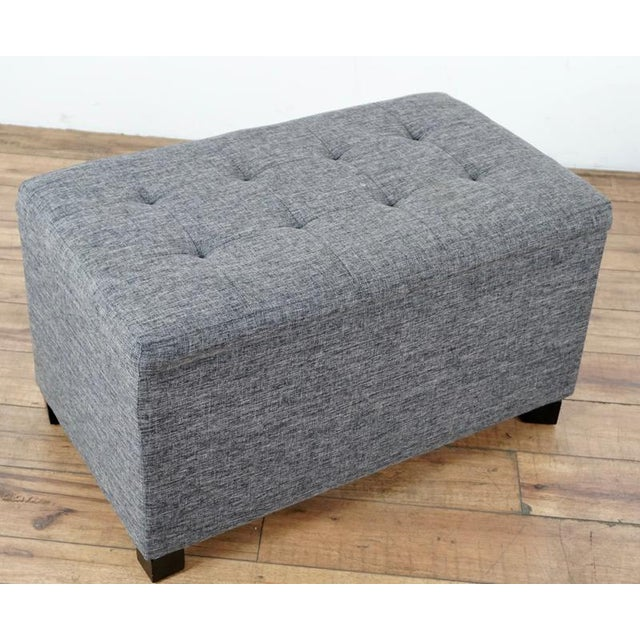 Contemporary Contemporary Tainoki Gray Upholstered Button Tufted Ottoman For Sale - Image 3 of 10