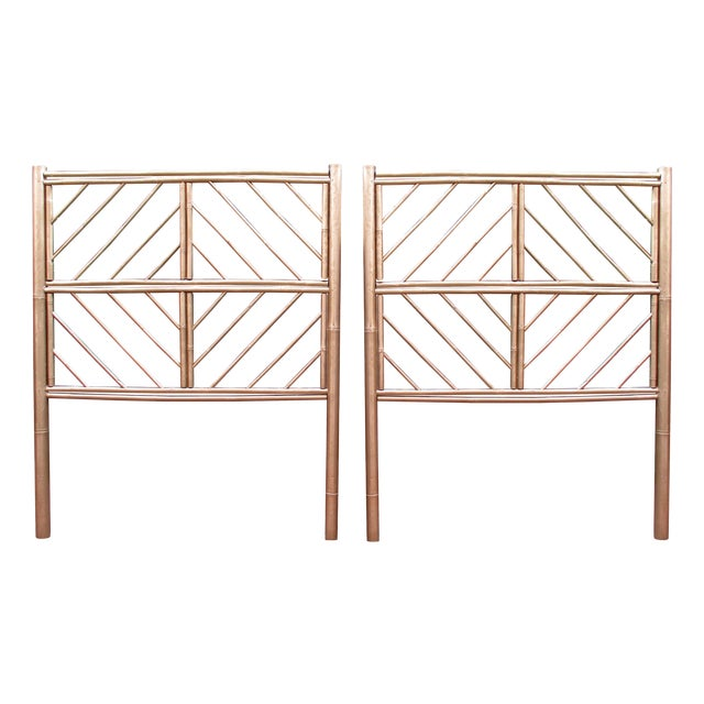 Gold Chippendale Bamboo Twin Headboards - A Pair - Image 1 of 11
