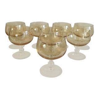 1970s Vintage Gold/Amber Goblet Cocktail Glasses - Set of 8 For Sale