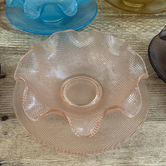 Colorful Vintage Glass Dessert Bowls and Saucers For Sale - Image 4 of 12