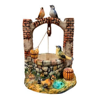 Early 20th Century Painted Ceramic Well Sculpture With Birds Signed Vallauris For Sale