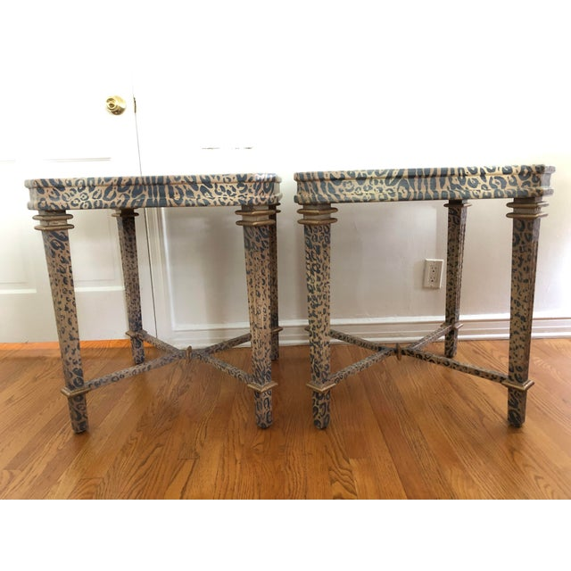 Truly one of a kind and Incredibly chic. Two custom hand painted Neoclassical style side tables in muted leopard print....