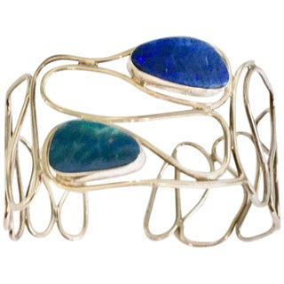 Contemporary Sterling 925 Silver & Blue Fire Opal Cuff Bracelet For Sale