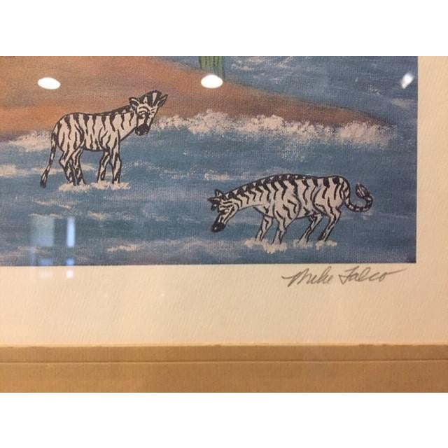 """1960s Vintage Mike Falco """"Lazy Afternoon"""" Folk Art Signed Artist Proof Serigraph on Canvas For Sale - Image 4 of 12"""