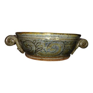 Mid Century Italianate Scroll Handle Pottery Bowl, Artist Signed For Sale