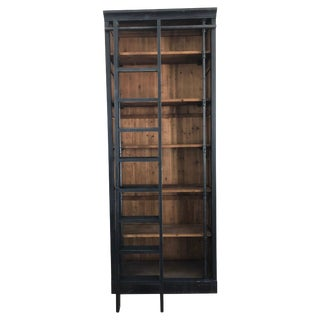 Rustic Chic Reclaimed Wood and Iron Black Bookcase With Ladder For Sale