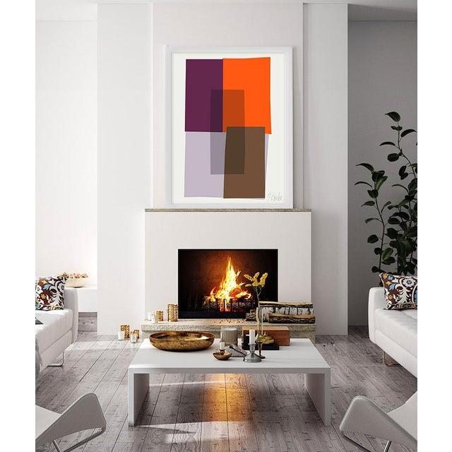 """Purple and Orange Collage"" by Liz Roache (purple and orange) This Modern, Mid Century, Contemporary Fine Art Print was..."