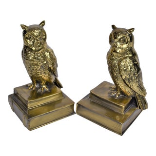 1970s Vintage Owl Brass Bookends-a Pair For Sale