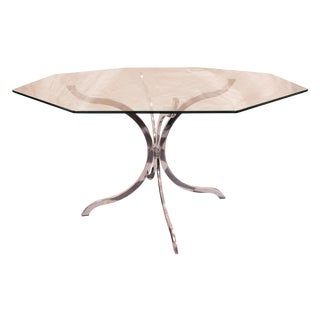 Chrome Splayed Pedestal Dining Table For Sale