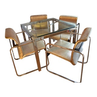 Vintage Peter Protzman for Herman Miller 5 Piece Dining Set With Newly Upholstered Chairs For Sale