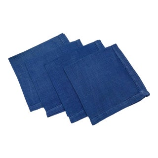 Linen Napkins Sapphire Royal Blue 1960s - Set of 4 For Sale