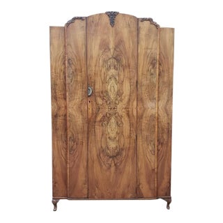 Burl Walnut Deco Armoire C.1940s For Sale