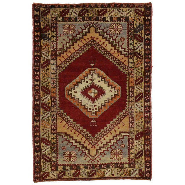 Mid 20th Century Vintage Turkish Oushak Accent Rug 03'09 X 05'06 For Sale - Image 5 of 5