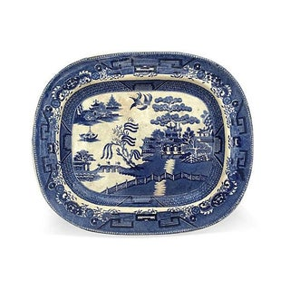 Victorian Blue Willow Platter, C. 1880 For Sale