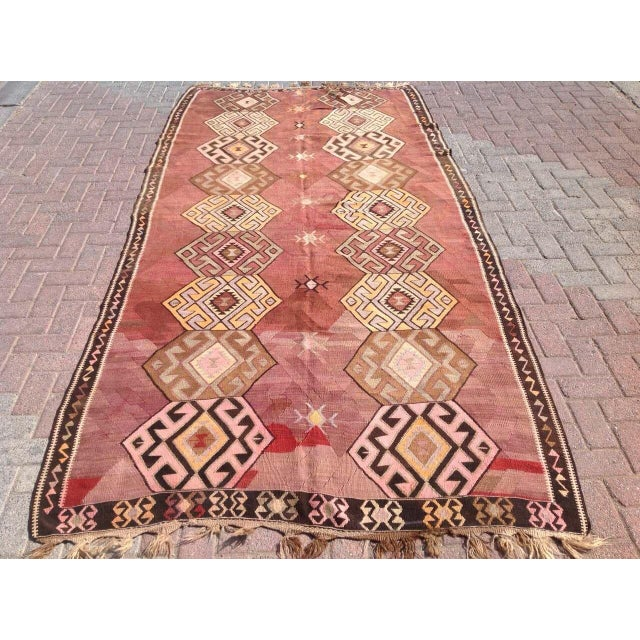 "Vintage Turkish Kilim Rug - 5'6"" X 11'1"" - Image 2 of 6"