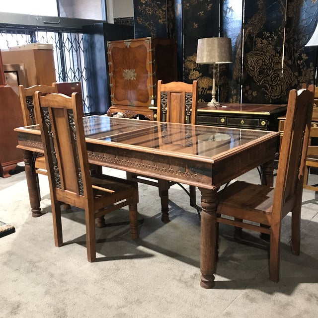 Rustic Antique Door Table & Chairs - Set of 5 - Image 2 of 8