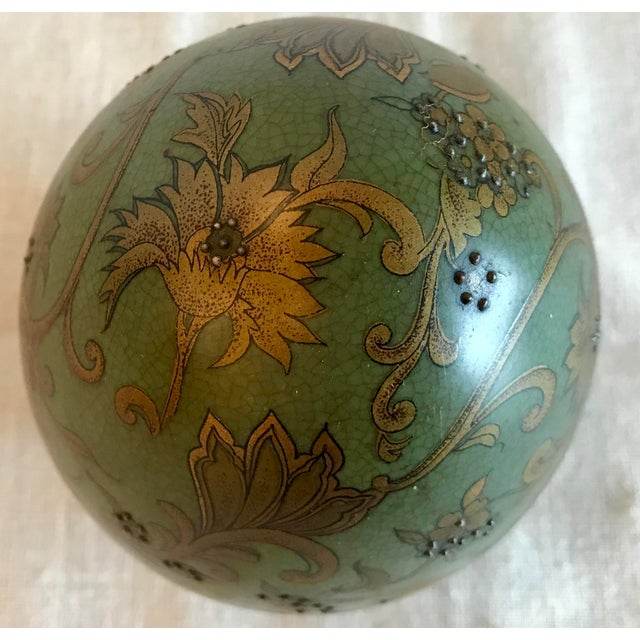 Green & Gold Egg With Floral Raised Details For Sale - Image 5 of 9