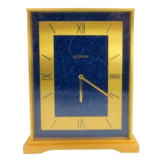 Vintage 1960s Jaeger LeCoultre Art Deco Lapis Lazuli and Brushed Brass Table Clock For Sale