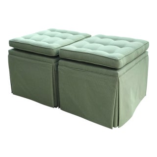 Custom Upholstered Skirted X Base Ottomans-Pair For Sale