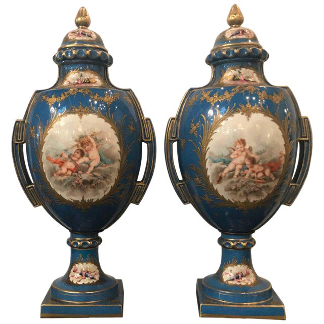 A Pair of Antique French Hand Painted Porcelain Mantle Urns For Sale