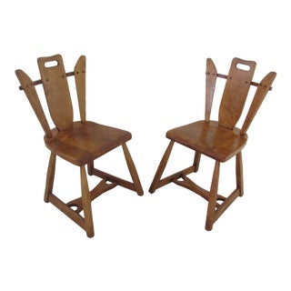 1930s Lodge/ Rustic Style Maple Accent Chairs - a Pair