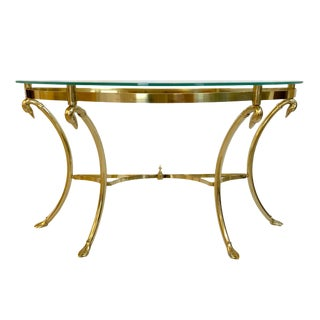 Hollywood Regency Labarge Style Swan Motif Brass and Glass Console Table For Sale