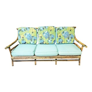 Mid Century Modern Cushioned Bamboo Sofa For Sale
