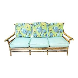 Mid Century Modern Cushioned Bamboo Sofa