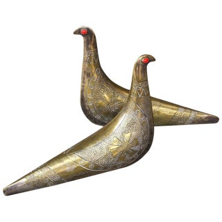 Midcentury Artisan Brass Metal Art Gemstone Partridge Dove Bird Sculptures