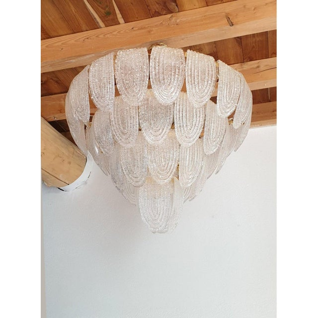 1970s Large Mid Century Modern Clear Murano Glass Chandelier, Mazzega Style, Italy 1970s For Sale - Image 5 of 11